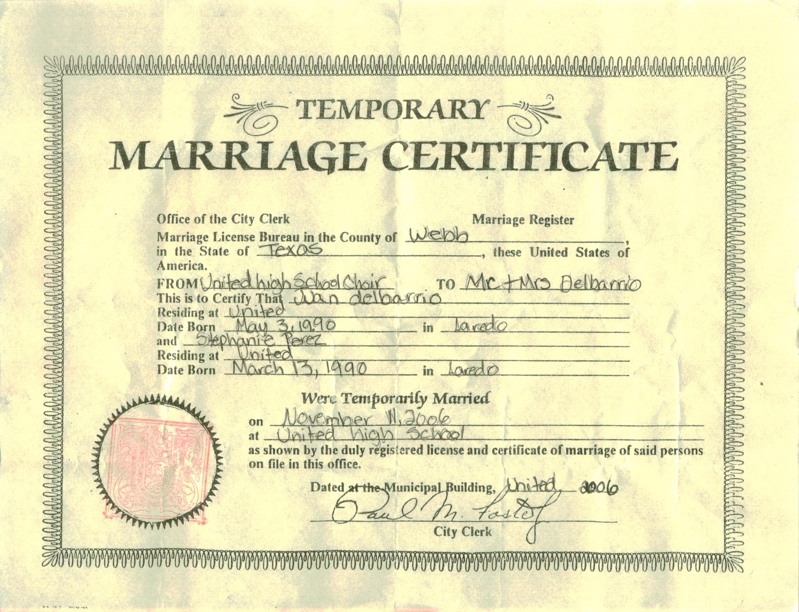 Cameroon Marriage Certificates