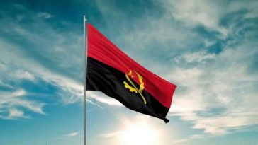 waving flag of Angola