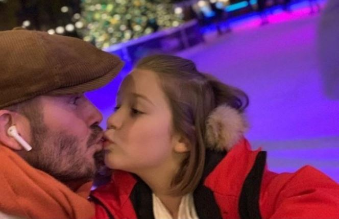 Image result for David Beckham And Daughter Share A Kiss But Internet Users Think It's Wrong